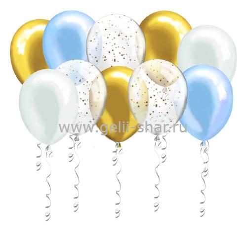 8724a5a8fd1b Шары под потолок Голубые, Белые, Золотые, Прозрачные с Конфетти ...