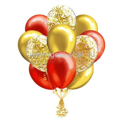 bbf91b2b1e07 Облако Золотых, Красных и Прозрачных шаров с Конфетти - заказать в ...